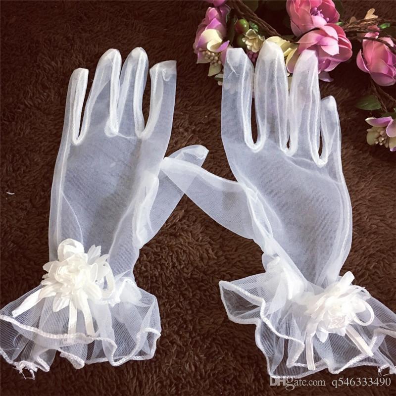 Gants de mariée coréenne blanc maille courte fleurs de fils volants à la main gants de mariage mariage mariage