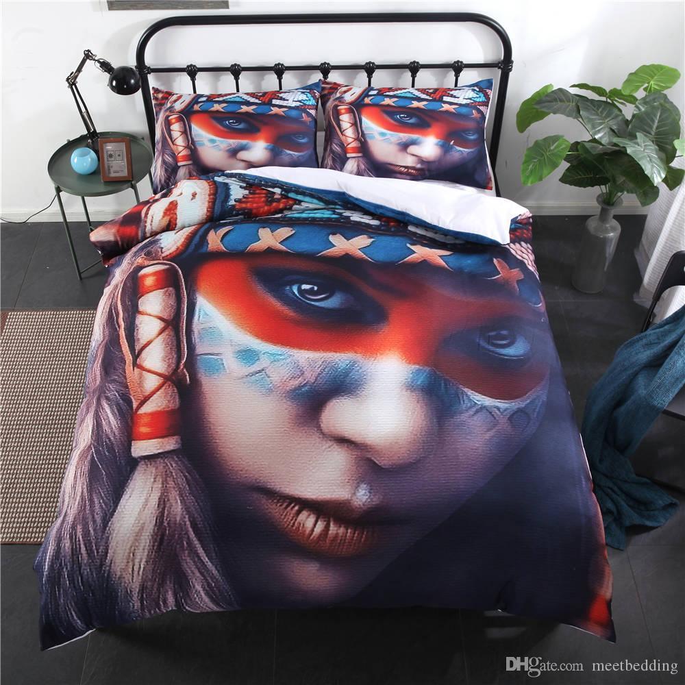 Conjunto de Cama de Impressão 3D 2/3 pcs com Fronhas de Cama em Casa Gêmeo Queen Size com Caveira Punk Beauty of Duvet Cover Set