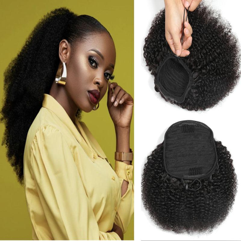 Ishow Human Hair Extensions WHFTS Pony Tail Yaki Direct Afro Kinky Curly Ponye de cheval pour Femmes Tous âges Couleur naturelle Noir 8-20inch