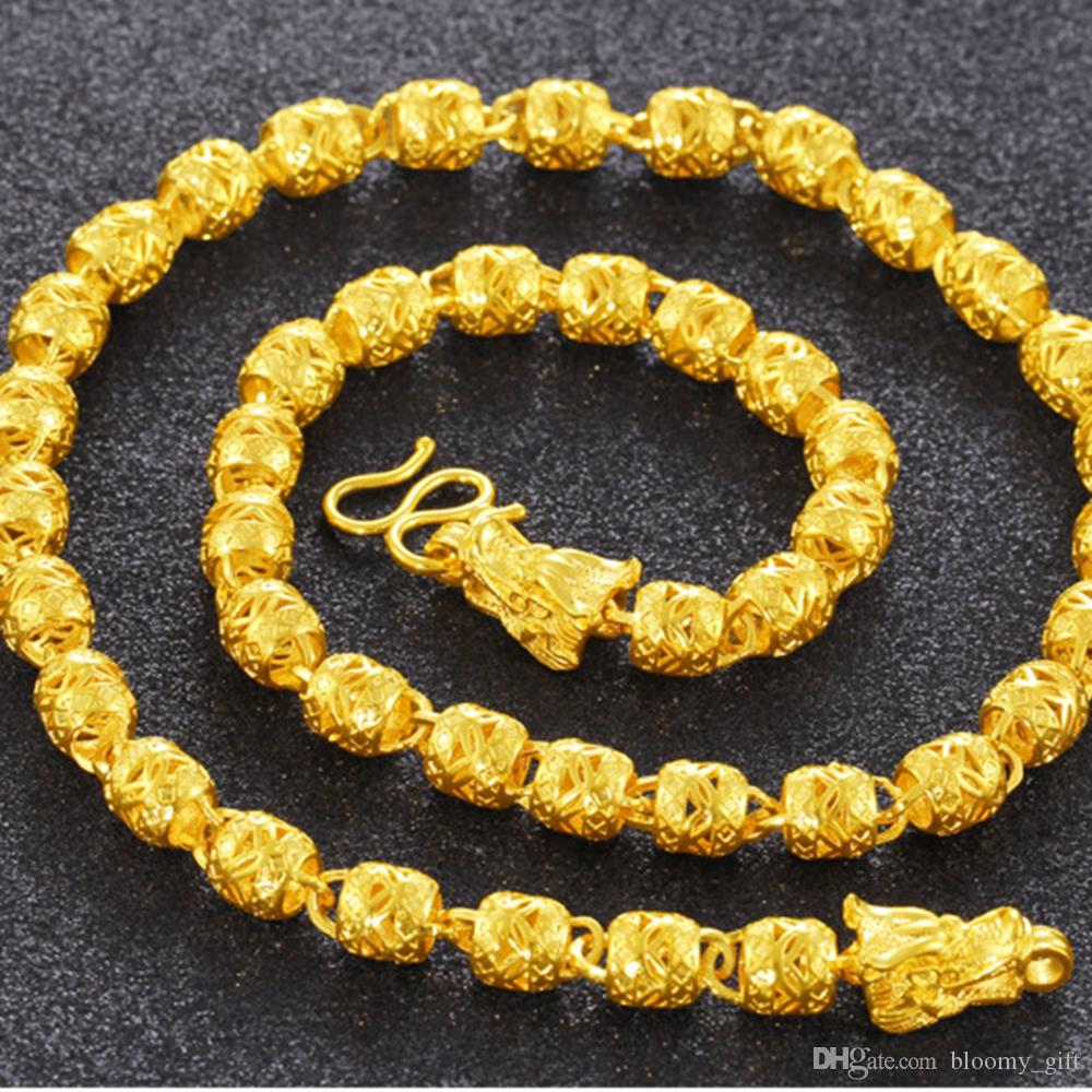 Sfere cave a catena oro giallo 18k riempito Hip regalo della collana di modo del Mens Hop Rock Style Maschio Gioielli 60 millimetri