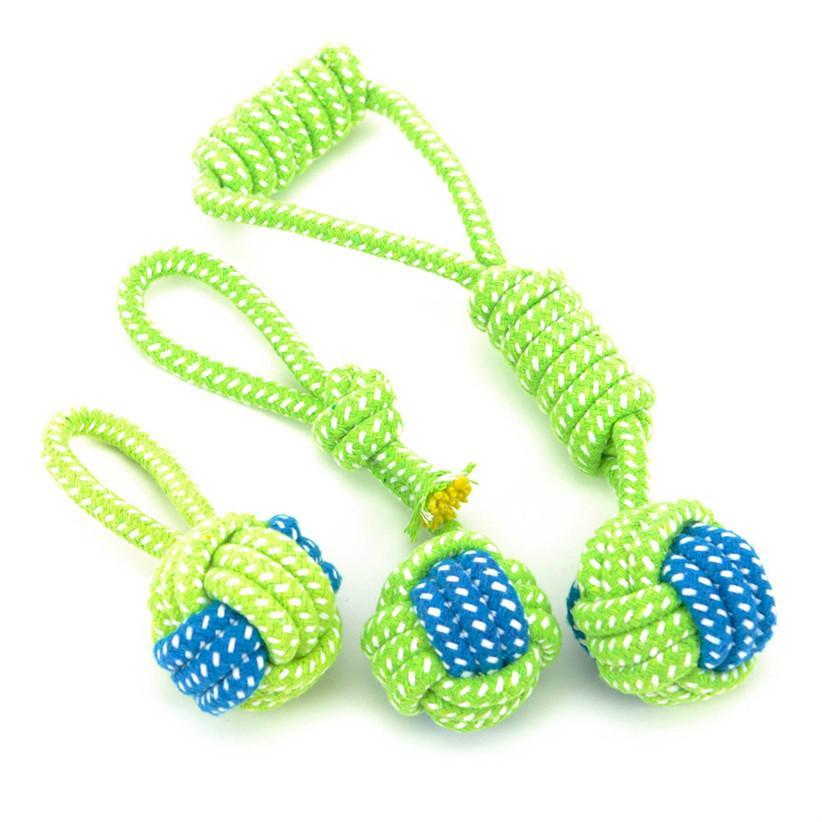 التموين الحيوانات الأليفة الكلب لعب الكلاب مضغ الأسنان النظيفة في الهواء الطلق تمارين متعة اللعب حبل الأخضر الكرة لعبة القط كلب كبير صغير