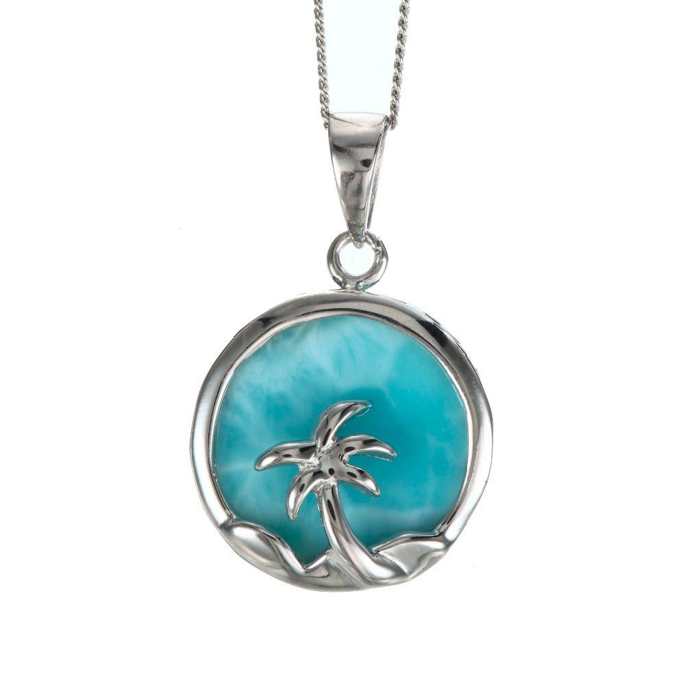 Высокое качество стерлингового серебра 925 синий натуральный Larimar Пальма женщины кулон для партии подарок