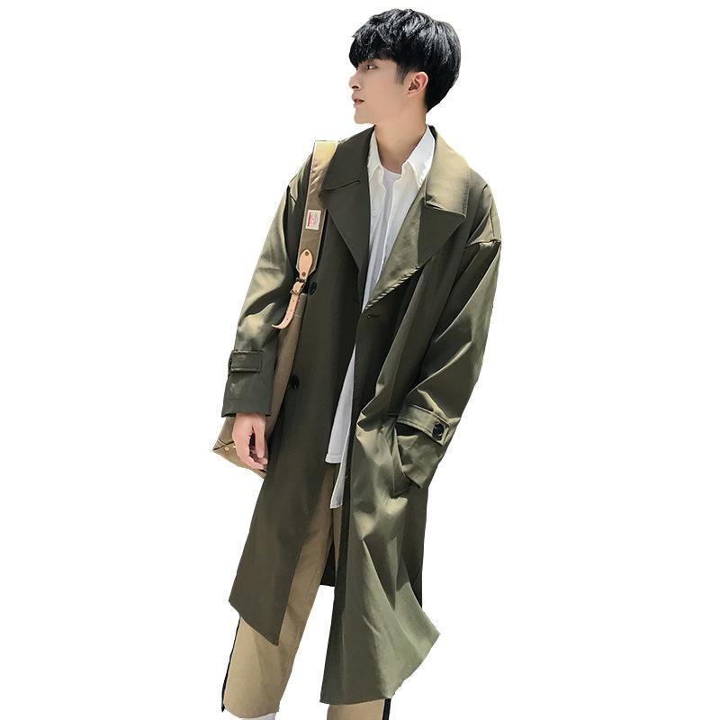 2019 mode hommes coréens de style printemps hommes tranchée coupe-vent mi-long lâche occasionnels manteaux manteau de couleur unie