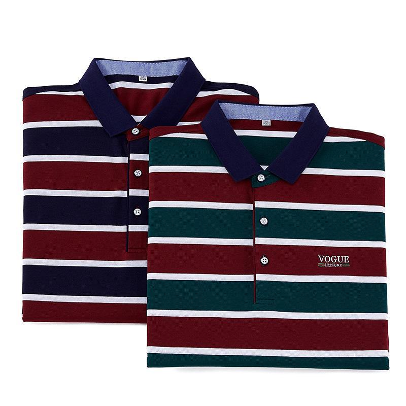 Polo Verano Rego Negocio Mercerizado Raya Nueva Camisa de Algodón Hombres Tencel Moda de manga corta Moda Tshirt Hombres Juwrr