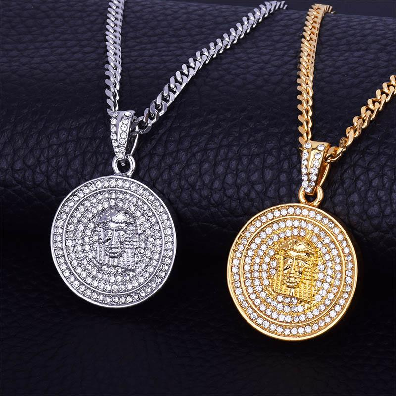 """Round Jesus Necklaces&Pendants For Men Gold Silver Color Charms Iced Rhinestone Hip Hop Jewelry Free 20"""" 24"""" Cuban Chain"""