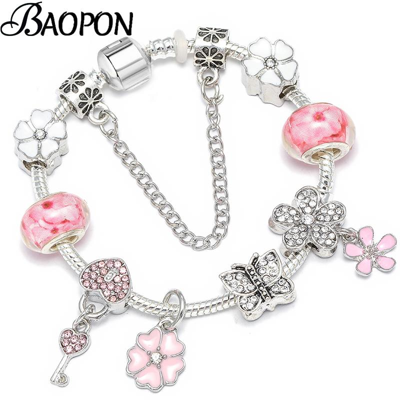 Pulseras de cadena Crystal Key BAOPON rosado del modelo del encanto de los granos de las pulseras de los brazaletes de color con plata para la joyería de las mujeres de moda Pulsera