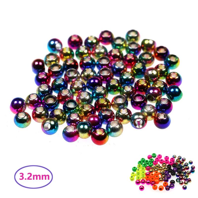 """Cheap Fishing Lures 20PCS 3.2mm 1/8\"""" Material Rainbow Colored Fly Tying Brass Beads Beadhead Nymph Stonefly Streamer Fly Fishing Trout"""