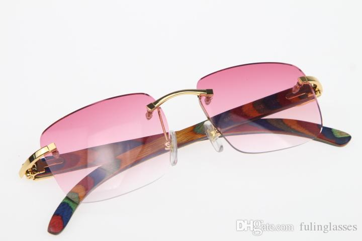 2019 Großhandel Randlos Brille Pfau Holz SunGlasses Hot 8.200.816 Randlos SunGlasses Hot Unisex Katzenauge Holz Gläser Rosa-Linse Neue Optik