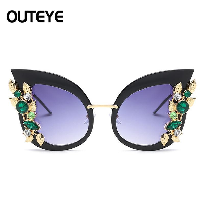 OUTEYE Luxuary Katzenaugen-Sonnenbrille der Frauen Diamant Bunte Cateye neuen Entwurfs-Aufmaß-Sonnenbrillen Weibliche oculos gafas de sol