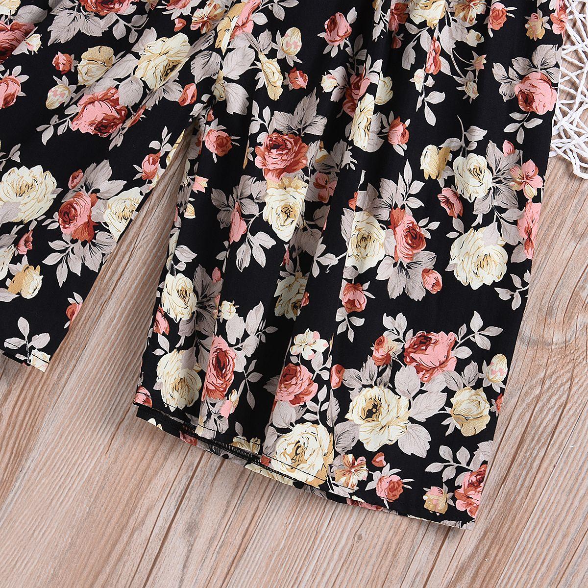 2019 Yaz Bebek Çocuk Kız Bebek Giyim Şık Kolsuz O-Boyun Çiçek Tulum Romper Gevşek Geniş Bacak tulumları Kıyafet