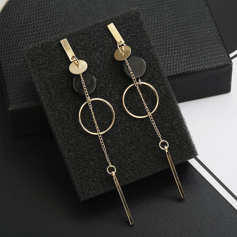 kadınlar Hediye Parti Wedding Kore Moda Uzun Yamaç Geometrik asimetri Yapay elmas çember küpe yeni Akrilik küpe