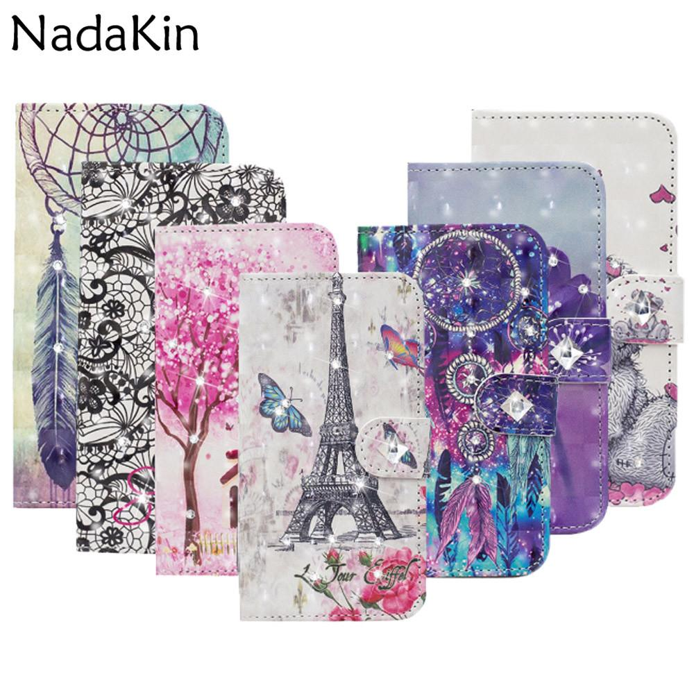 Glitter Rhinestone Diamond 3D Painted Book Phone Case for Motorola Moto G6 Plus 2018 E5 Z3 Play Go Flip Leather Cover With Strap