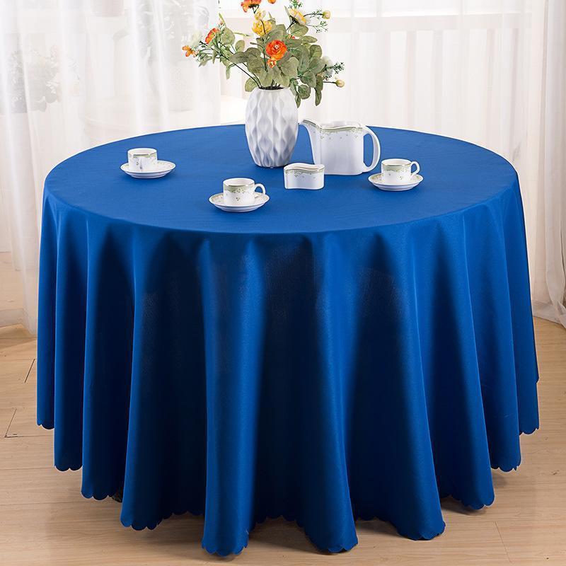 Mesa redonda fiesta de la boda 1PC de tela de color sólido blanco comedor Mantel lisos de poliéster para el Hotel de banquetes Decoración Y200421