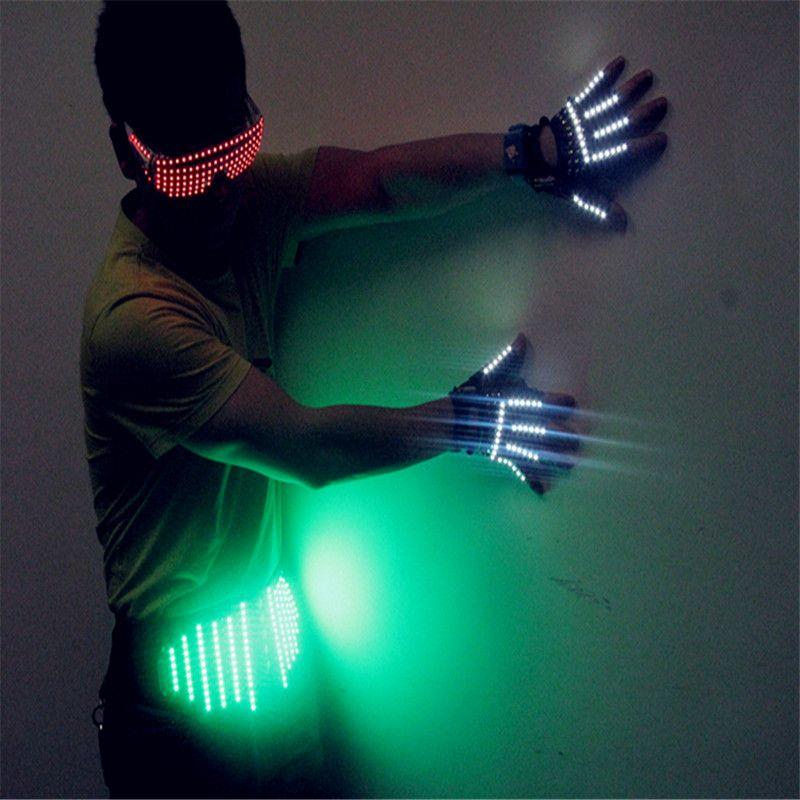 T20 levou óculos de luz led luvas com cintos de dança de salão levou luz trajes dj luvas de dança festa eventos bar disco usa disco de desempenho