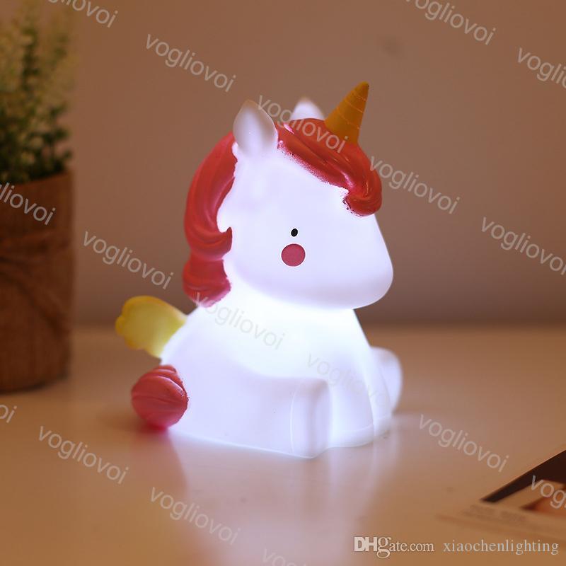 Ночной свет Unicorn мультфильм животных тумблер розовый белый винил ПВХ 3500K крытый для детского кормления успокаивающий спальный декоративный DHL