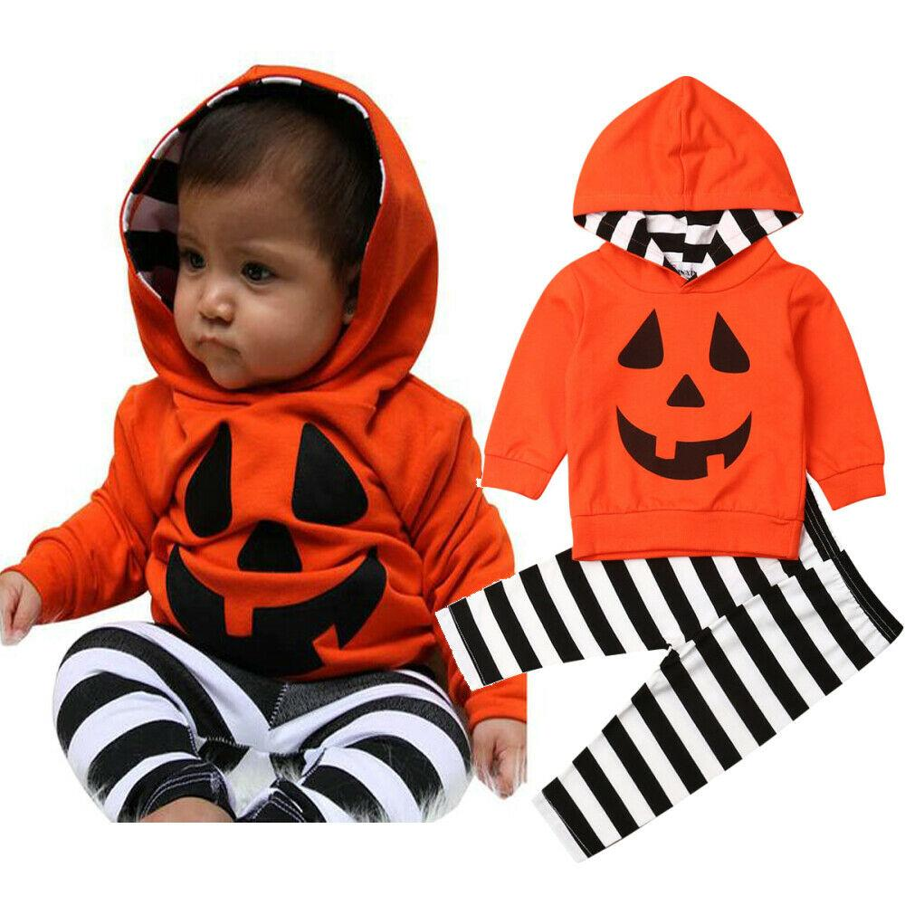 2019 2019 Toddler Kid Baby Girl Boy Halloween Clothes Sets Pumpkin Hooded  Tops+Stripe Pants Outfits Infant Baby Festival Clothes From  Wangxiaofeng806,