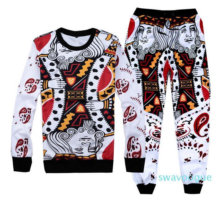 Wholesale-Hip hop Hoodies&pants funny Playing cards suits 3d jogging pants sweatshirt 2 piece sets men/women sport sweatpants
