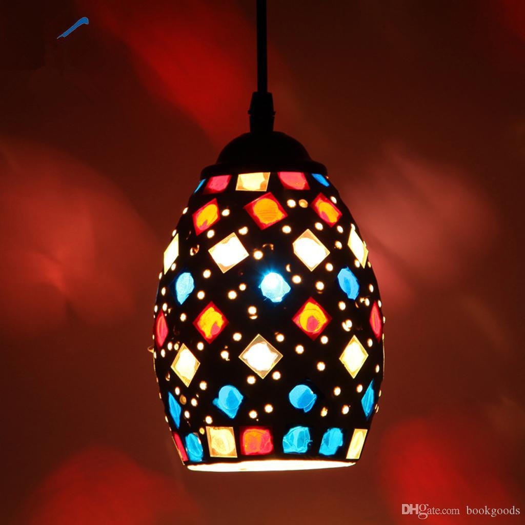 2020 Vintage Retro Mosaic Style Multicolour Pendant Light Bulb Cage Ceiling Hanging Lampshade Home Bar Cafe Restaurant Decoration From Bookgoods 69 85 Dhgate Com