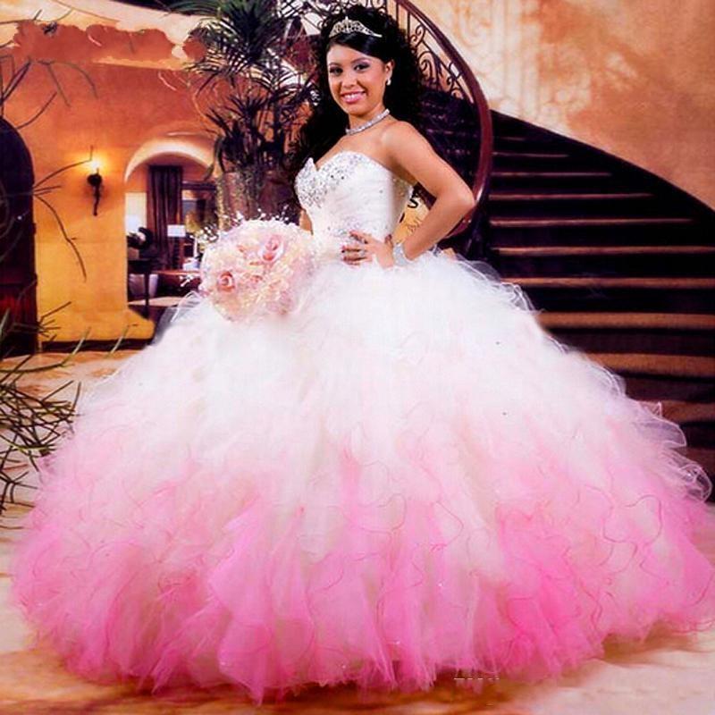 Hot branco e rosa Quinceanera Dresses Organza Beads Ruffles Vestidos De 16 Anos Bola baratos Vestido Prom
