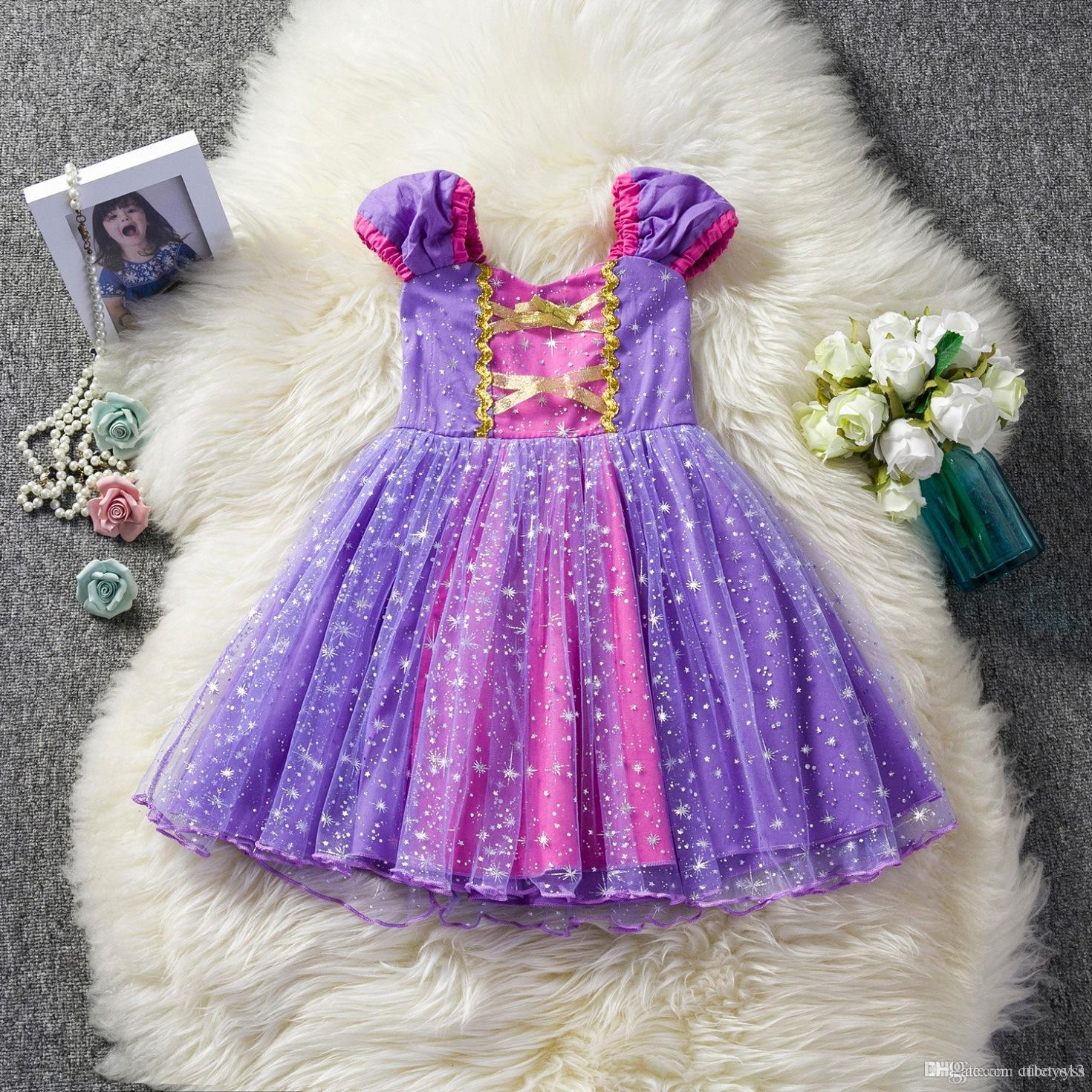 Cute 2019 Little Girls Princess Cartoon Children Kids princess dresses Casual Clothes Kid Trip Frocks Christmas Party Costume dresses