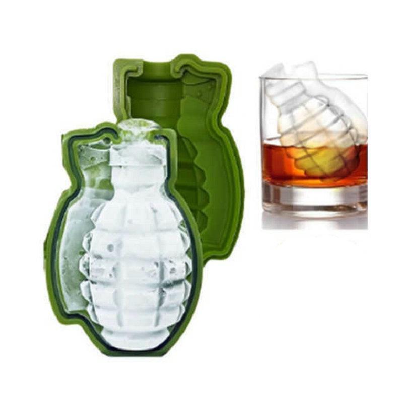 Forma 11x7x7cm 3D granada del cubo de hielo del molde creativo para hacer helado Bebidas del partido Barra de herramientas de silicona Bandejas Moldes de cocina