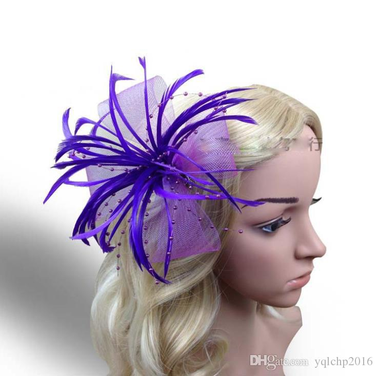 Feather Hair Decorative Yarn Mesh Flower with Feather Sticking Brooch Small Hair Pin Headdress Decorative Flower