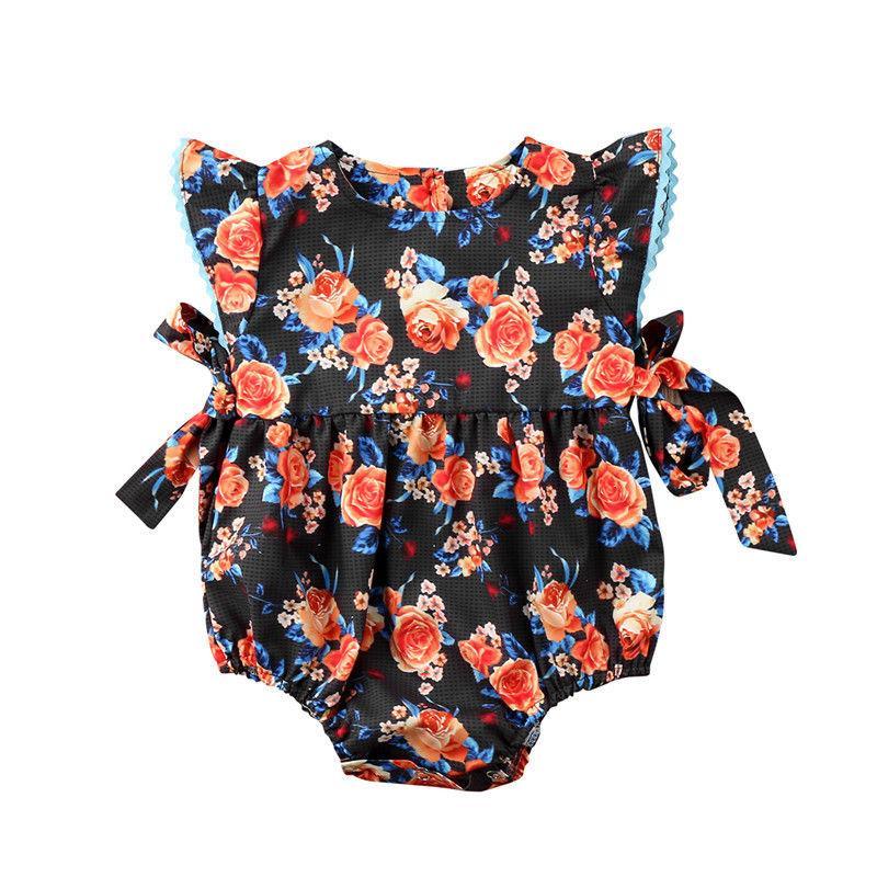 0-2T Nouveau-né bébé fille Vêtements d'été Floral manches Bodysuit Jumpsuit Sunsuit belle douce Tenues Vêtements mignon