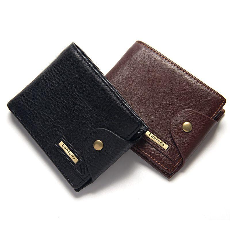 가죽 동전 주머니 검은 색 갈색 신용 카드 홀더 지갑 지갑 무료 배송 뜨거운 판매 품질 걸쇠 스타일 남성 지갑 크로스 수직 PU