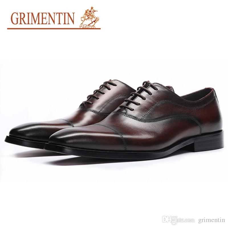 GRIMENTIN Hot sale Italian fashion formal mens dress shoes 2019 black brown men oxford shoes genuine leather business wedding men shoes YJ