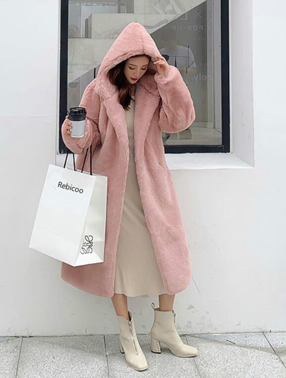 Зима новая высококачественная мода меховая пальто плюшевый меховой меховой досуг куртка женский имитация норка толстый длинный с капюшоном большой размер пальто