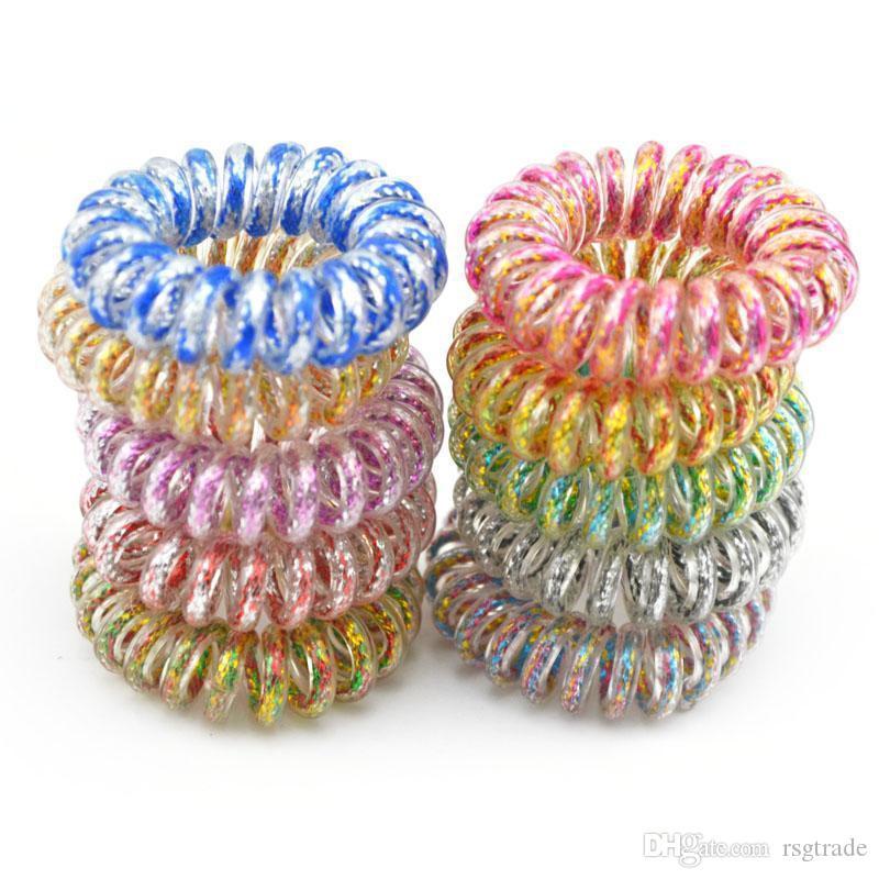 DHL libero INS 3.5CM Accessori per capelli Linea filo del telefono corda dei capelli cavo Anello capelli per le ragazze fascia arcobaleno delle ragazze delle donne Hairbands
