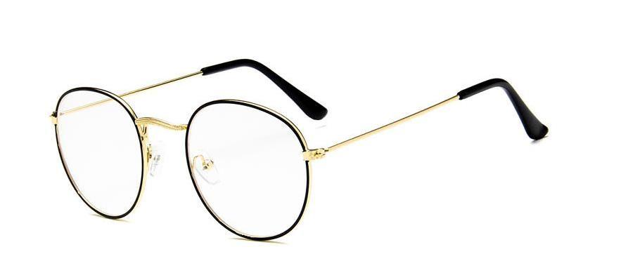 Nuevo y elegante montura de gafas de montura de metal de estilo vintage. Gafas redondas con montura de gafas.