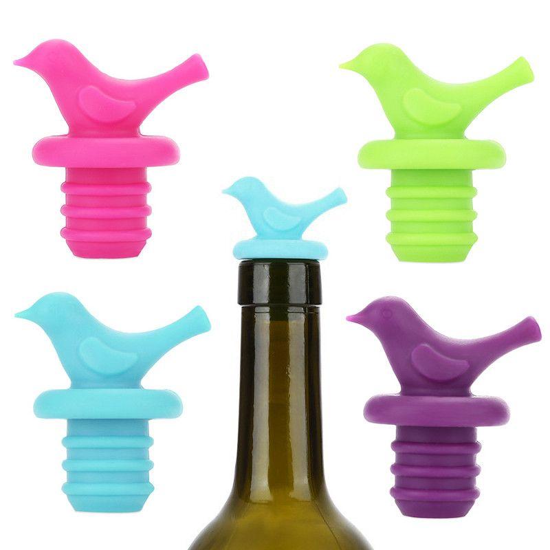 Creative Bird Design Silicone Wine Stopper Bottle Caps Wedding Gift Wine Cork Stopper Barware Bar Kitchen Accessories