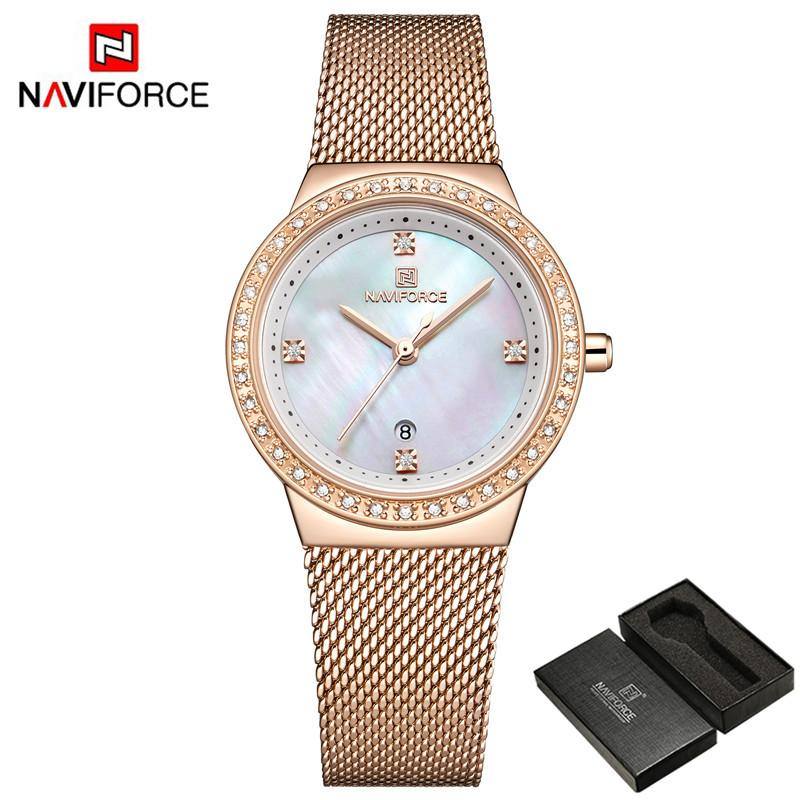 Top-Marken-Frauen-Uhr Rhinestone-Quarz-Dame wasserdichter Armbanduhr-Edelstahl-Weibliche Uhren Uhr 5005