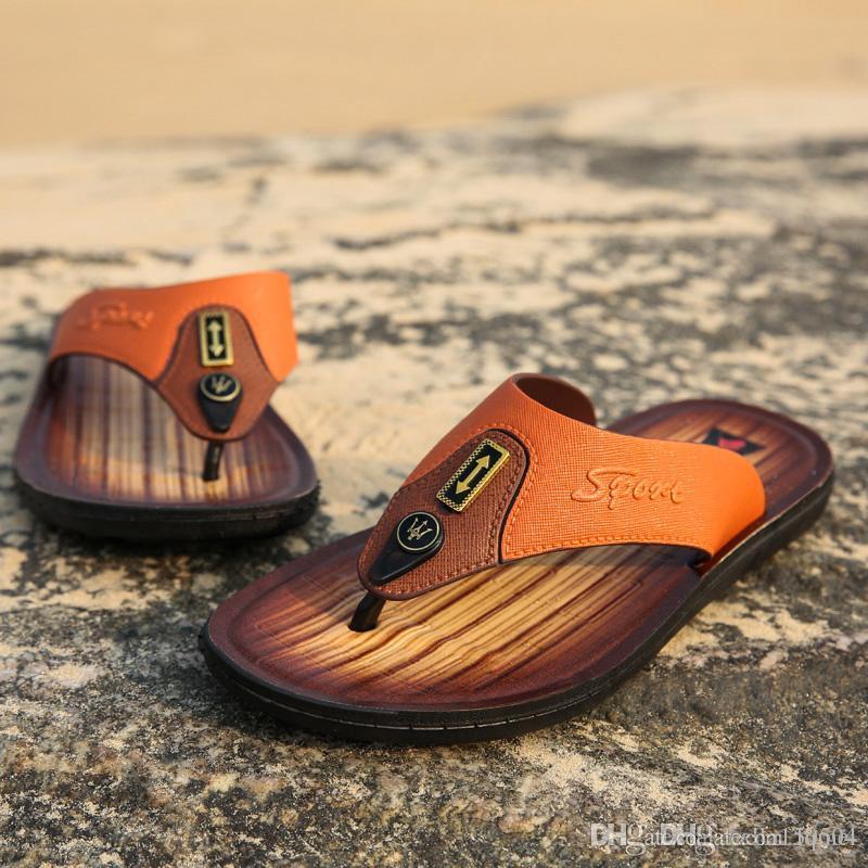 2019 Europa sandalias de cuero de diseño flip-flop causal de playa al aire libre zapatillas antideslizante huaraches de verano zapatillas chanclas zapatillas de verano