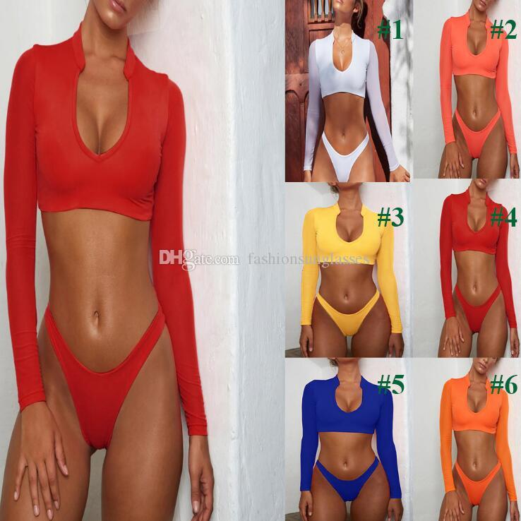 Bikini Long Sleeve Brazilian Bikini Set High Cut White Swimsuit Thong Swimwear Women Bathers Micro Bikini 2020 Mesh Swimming Summer M803