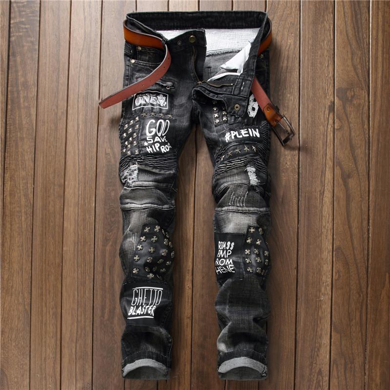 2018 Moda Marka özgün tasarım erkek kot ince uygun Perçin mektup motorcu kot hi-sokak Balman tarzı kovboy pantolon 550-4 #