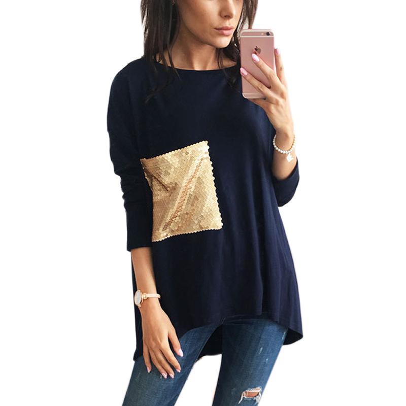 Nice T-shirts Breif T-shirts Femmes Asymétriques O Tunic Tunique à fond de cou longue avec t-shirts paillettes Top plus Tee Tee Tee Top tendance
