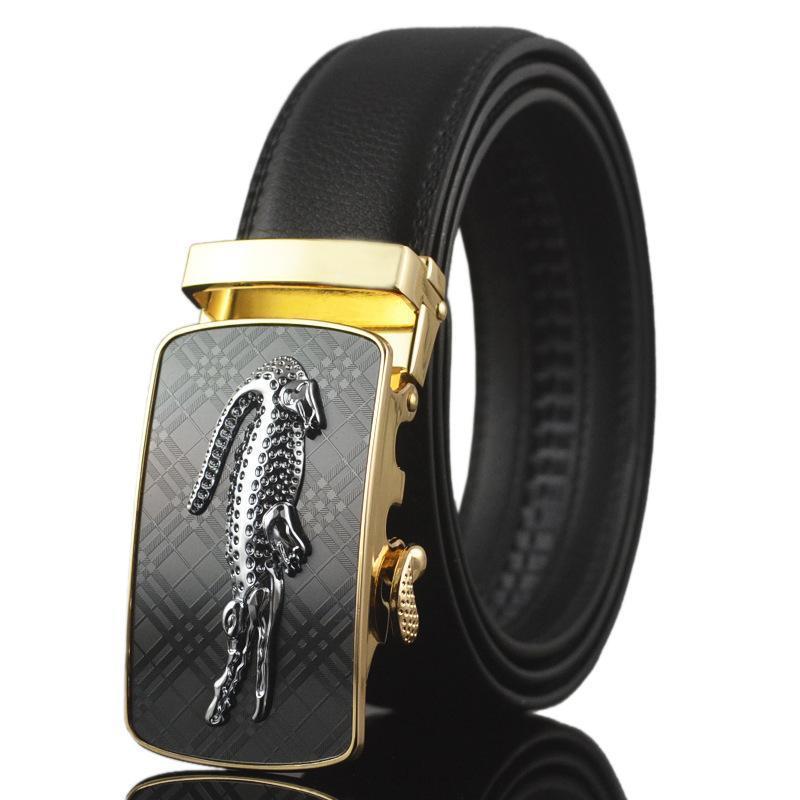 Luxury Mens Alligator Embossed Plaque Buckle Cowskin Genuine Leather Ratchet Belt 3D Crocodile Pattern Jeans Belts For Men Free Shipping