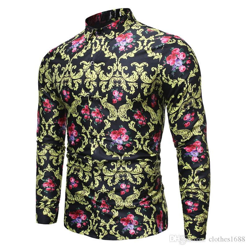 Großhandel Barock Hemden Designer Herren Kleidung Hemden 2020 Frühling Mens Fashion Shirt Slim Fit gedruckt Floral Revers Neck Männer Camisa Masculina