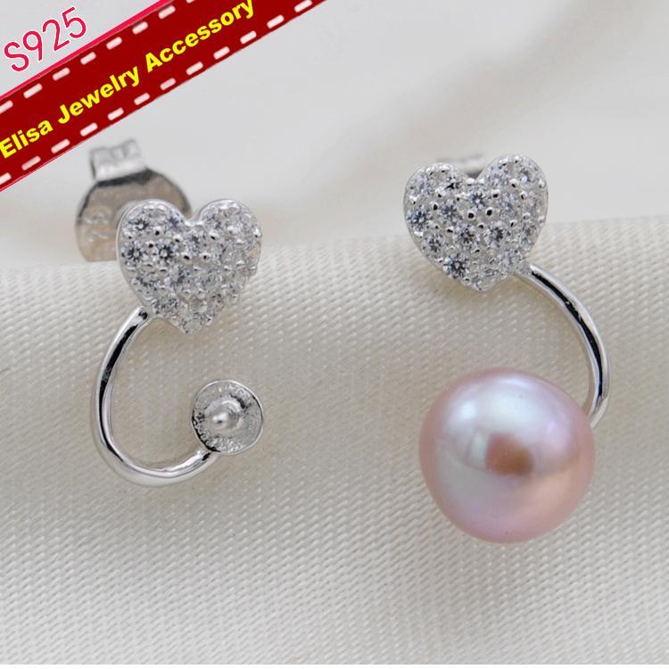 Сердце дизайн жемчужные серьги держатель S925 стерлингового серебра серьги настройки женщины DIY серьги Компоненты 3 пары / Лот