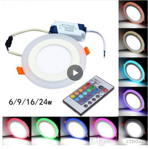 뜨거운 판매 라운드 / 스퀘어 RGB LED 패널 라이트 + 원격 제어 6W / 9W / 16W / 24W Recessed LED 천장 패널 조명 AC85-265V + 드라이버