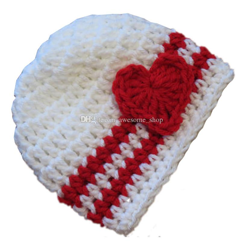 Cute Crochet Baby Valentine Day Hat,Handmade Knit Baby Boy Girl Striped Beanie with Red Heart,Infant Spring Winter Cap,Newborn Photo Prop