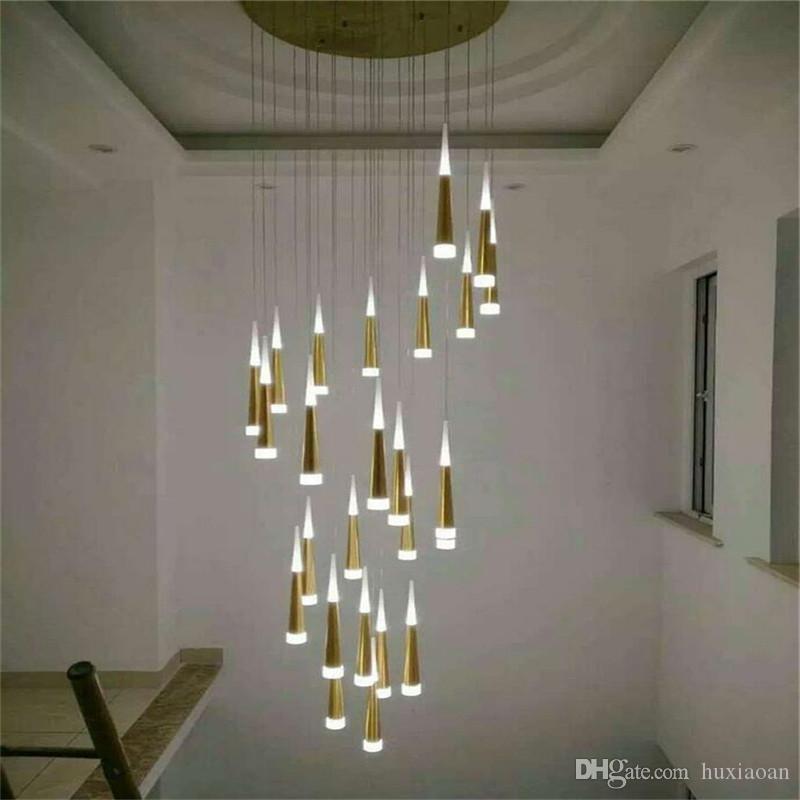 Moderna 7W ha condotto la luce del lampadario a bracci in alluminio conico Led Chandelier Lustri sospensione Apparecchio per Scale negozio Chandelier Infissi