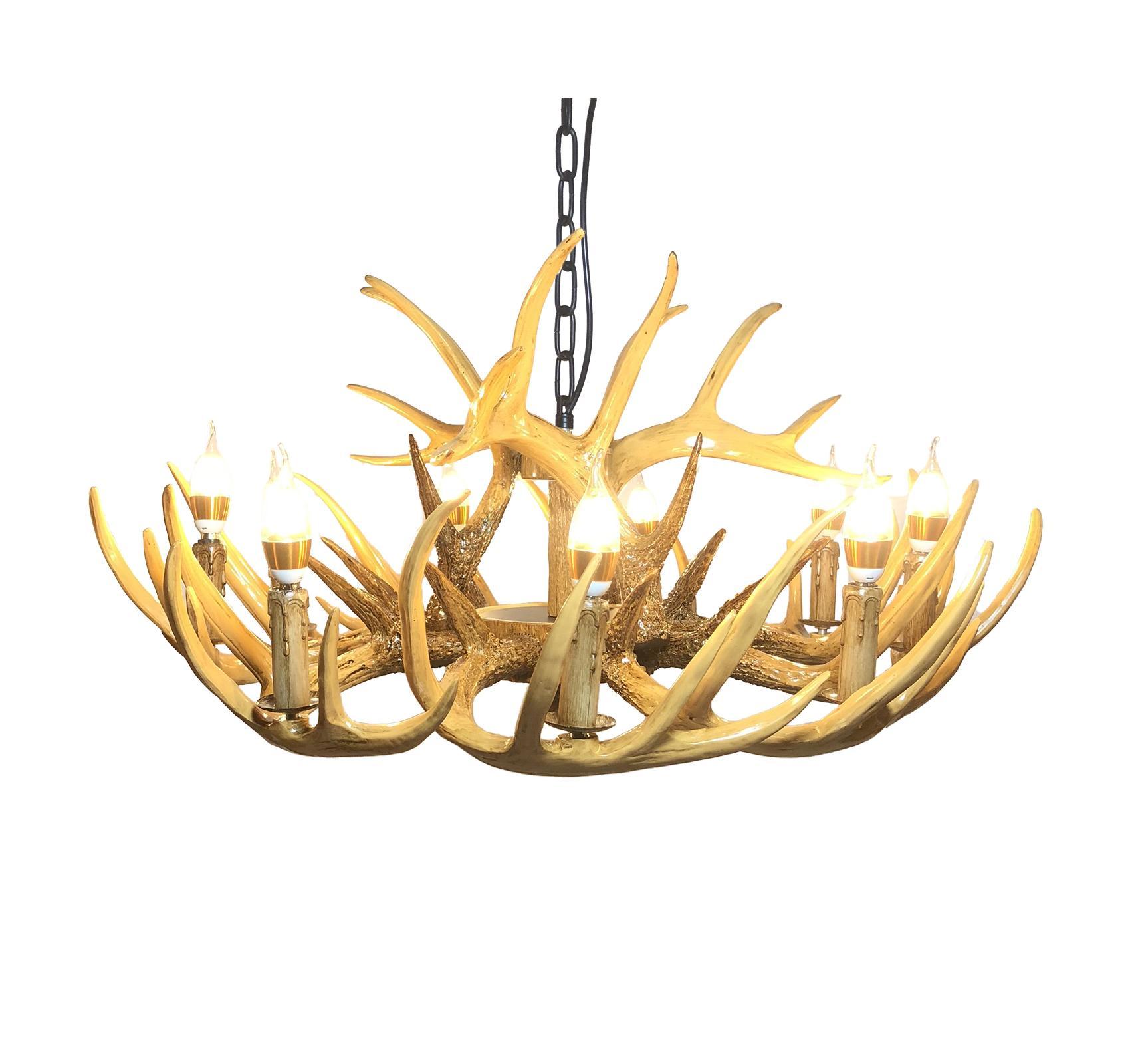 North American Antler Lustre Éclairage Rétro Résine Cerflam Lampes Modern Accueil Décoration Cuisine E12 UL-UL-UL-UL-UL-VIDE