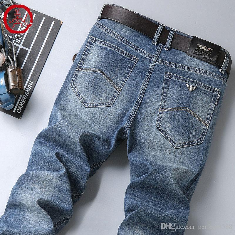 AJ-8813 V6R6 Jeans summerSpring Pantalons Outdoor mince pantalon pantalon hommes pantalons en coton stretch jeans pantalons lavés d'affaires décontractée droite