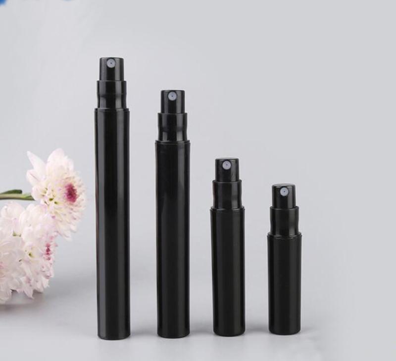 2 ml 4 ml 5 ml 3 ml échantillon de parfum bouteilles plastique noir avec une bouteille stylo de pompe de pulvérisation de pulvérisation mini-flacons de parfum