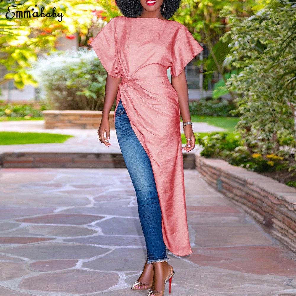 Die Frauen-formalen Abend-Partei-Kleid-elegante kurze Ärmel Tunika Split Sexy Kleid unregelmäßige Art und Weise anmutige grazioso vestido