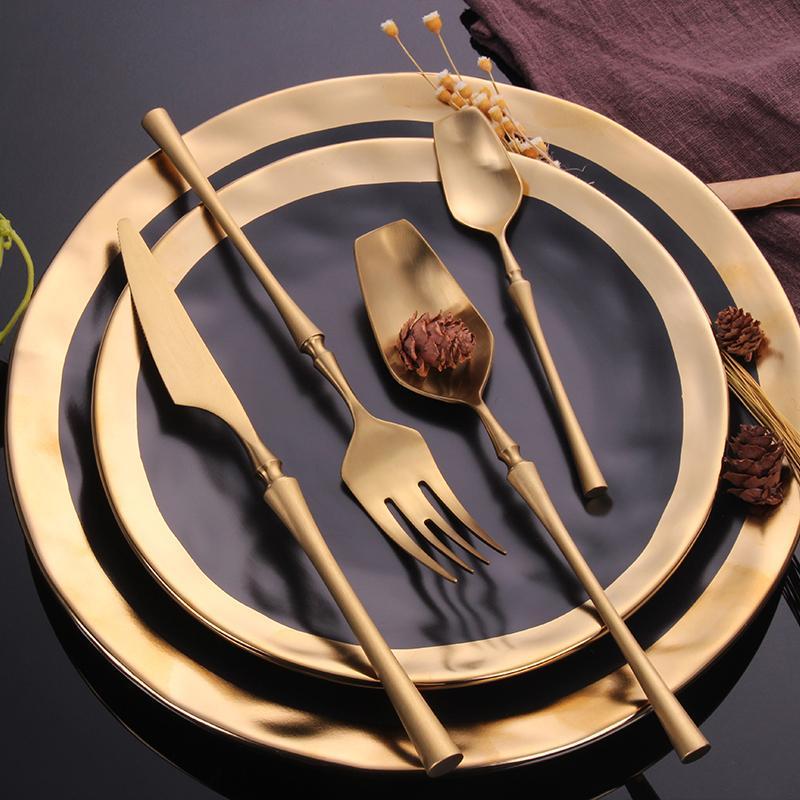 Spklifey Altın Sofra 18/10 Paslanmaz Çelik 24Pcs bulaşığı Bıçak Çatal Kaşık Çatal bıçak 48pcs Çatal Seti T200430