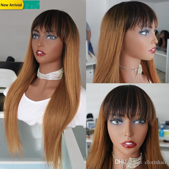 Blonde Ombre Human Hair Wig With Bangs 1B/30 Straight Malaysian Remy Glueless Wigs For Black Women Colored Non Lace Braided Long Wig